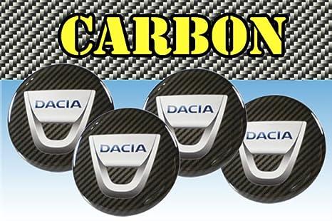 Adhesivos para ruedas Dacia Carbono, de imitación de carbono, para tapacubos de