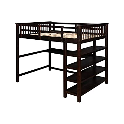 Buy Loft Bed Wooden Loft Bed Frame With Storage Shelves And Under Bed Desk Full Length Guardrail Built In Ladder For Kids Teens Adult Online In Uzbekistan B092wxxgvf