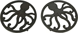 Brown Cast Iron Coastal Octopus Trivets or Wall Hangings Set of 2