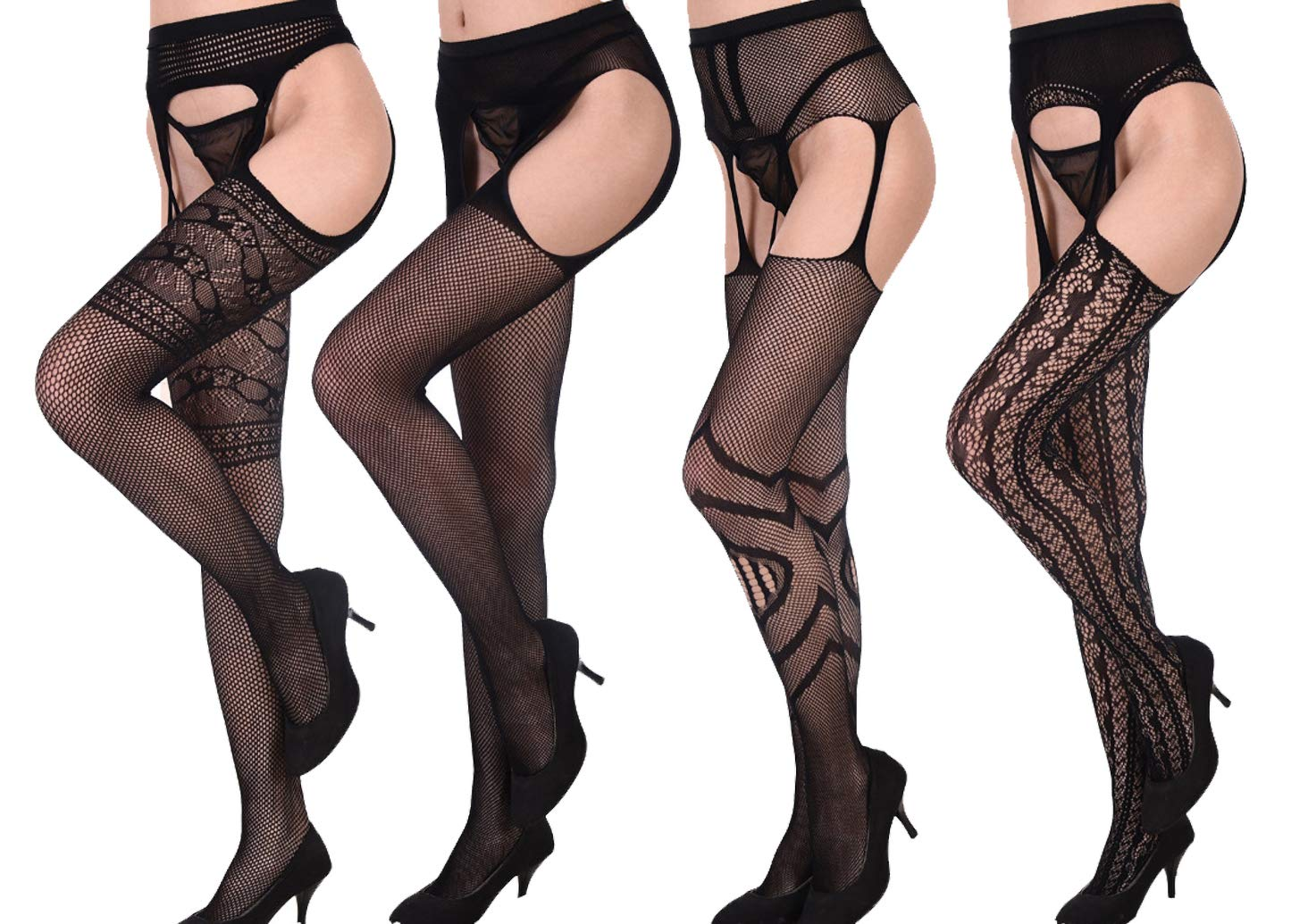 Women's Sexy Open Crotch Mesh Fishnet Thigh High Stockings with Garter Belt (One Size, 4 Pairs (style 5-8))