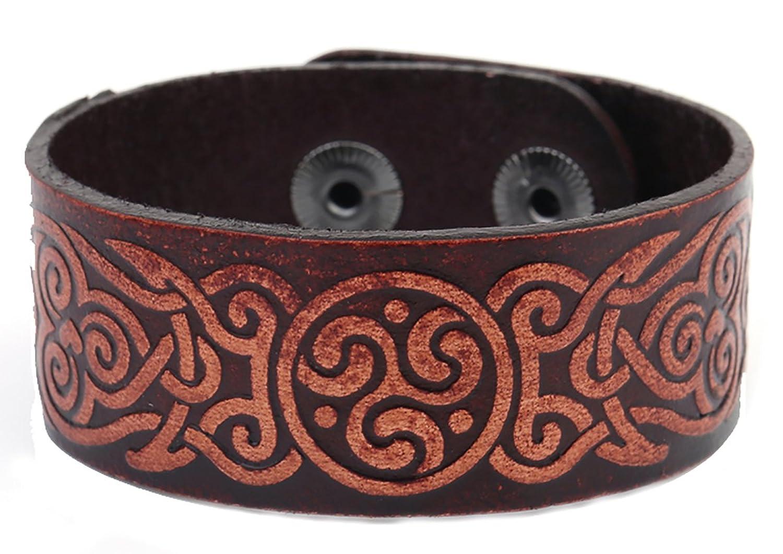 Spirals Symbols Irish Triskel Knot Men Cuff Leather Bracelets Bangles For Men and Women