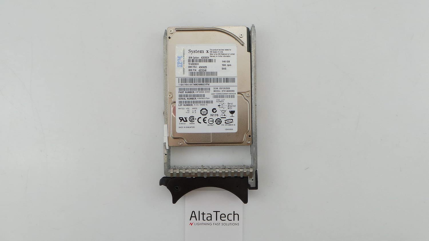 Renewed IBM 43X0824 146GB 10000 RPM 2.5 Inch Hot-Swap Serial Attached SCSI SAS Hard Drive with Tray.