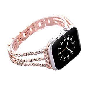 NikoStore Watch Straps Compatible Apple Watch 38mm/40mm,Women Glitter Stainless Steel Band,Rose Gold Bracelet with Folding Clasps Replacement Wristband for iWactch 40mm Series 4/3/2/1