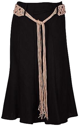 9f09ffc37c22 Purple Hanger - Jupe Mi-Longue Femme Jacquard Tissé Ceinture à Nouer Evasé  Extensible Lin