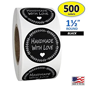 "1.5"" Inch Round Handmade with Love Stickers in Black and White, 500 Labels per Roll."