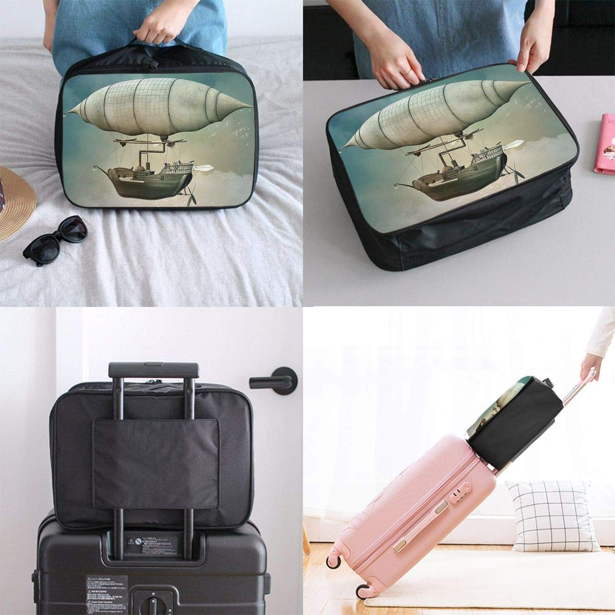 ADGAI Steampunk Airship Fantasy2 Canvas Travel Weekender Bag,Fashion Custom Lightweight Large Capacity Portable Luggage Bag,Suitcase Trolley Bag