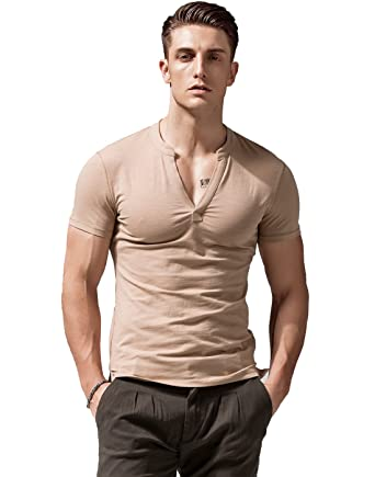c7641c0cf07d XShing Mens Short Sleeve T Shirts Slim Fit Deep V Neck Athletic Casual    Amazon.com