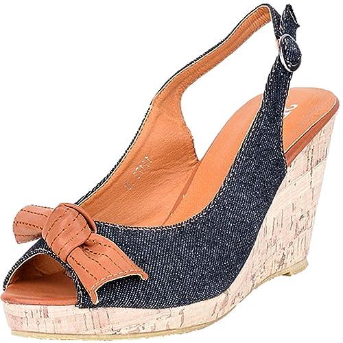 Denim Damen Jeans Schuhe Keilabsatz Kork Peep Wedges Toe tQdhCsr