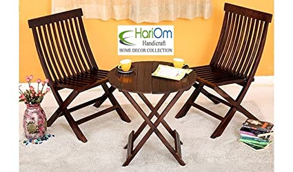 Hariom Handicraft Sheesham Wood Round Table with 2 Chairs, Balcony Coffee Table, Garden Outdoor Table with Chairs, Walnut Finish