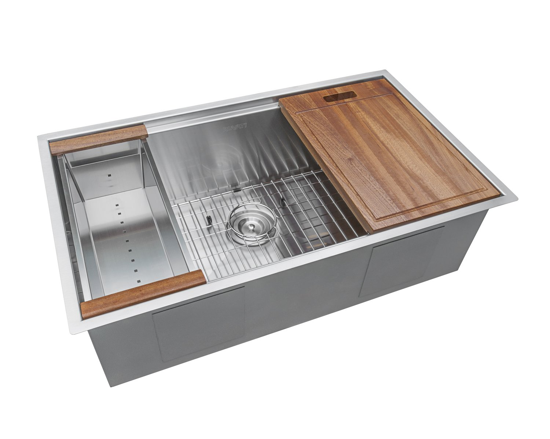 Ruvati 32-inch Workstation Ledge Undermount 16 Gauge Stainless Steel Kitchen Sink Single Bowl - RVH8300 by Ruvati