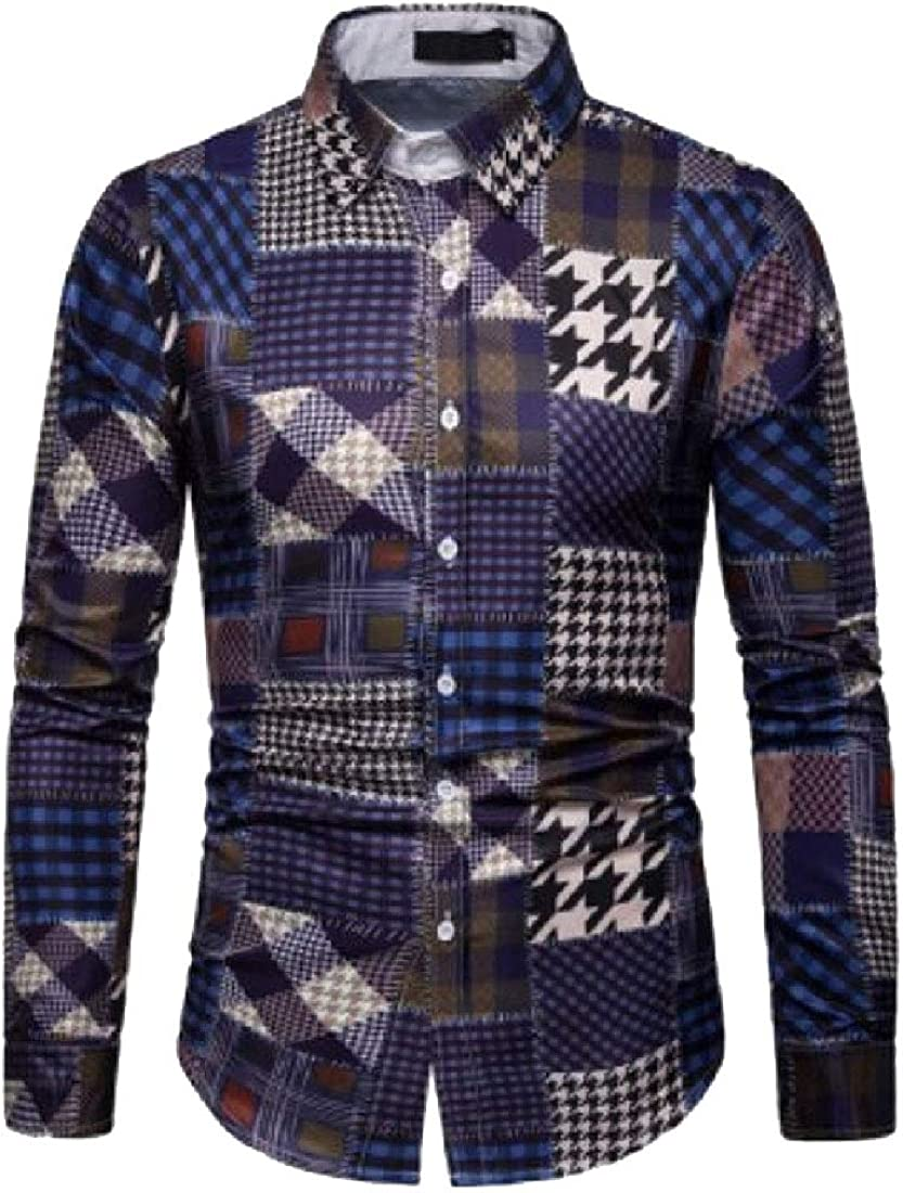 YONGM Mens Business Long Sleeve Lapel Palid Button Up Shirts