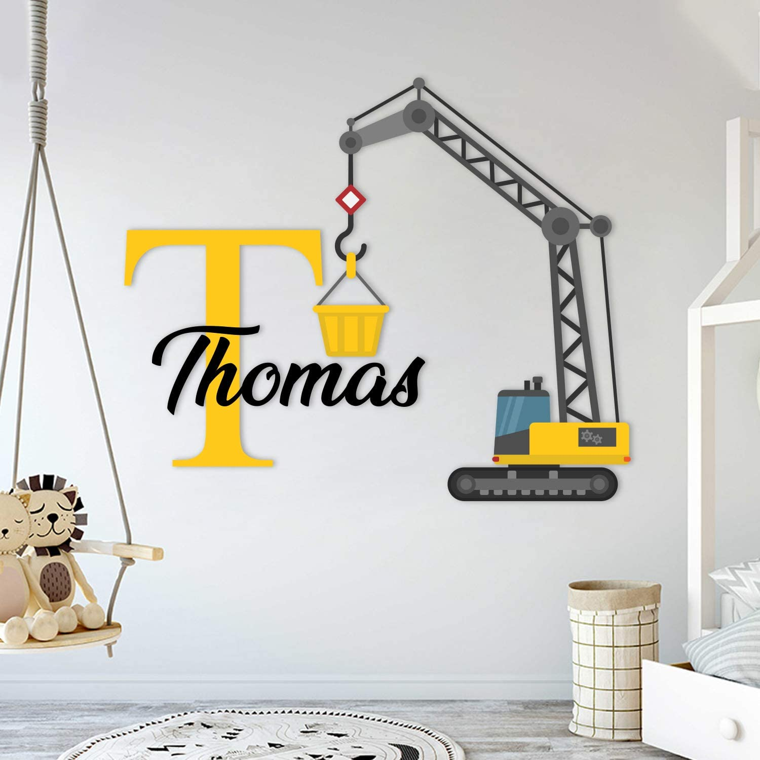 "Custom Name & Initial Construction Crane - Prime Series - Baby Boy - Nursery Wall Decal for Baby Room Decorations - Mural Wall Decal Sticker for Home Children's Bedroom (Wide 32""x27"" Height)"