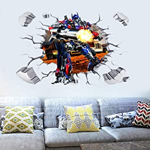 TE YANG 3D Transformers Optimus Prime Wall Stickers for Boys Vinyl Decoration Wall Decals Art Kids Room Home Decor Boy Children Nursery Wall Decal Stickers(23.7 x 35.5 inch Size)