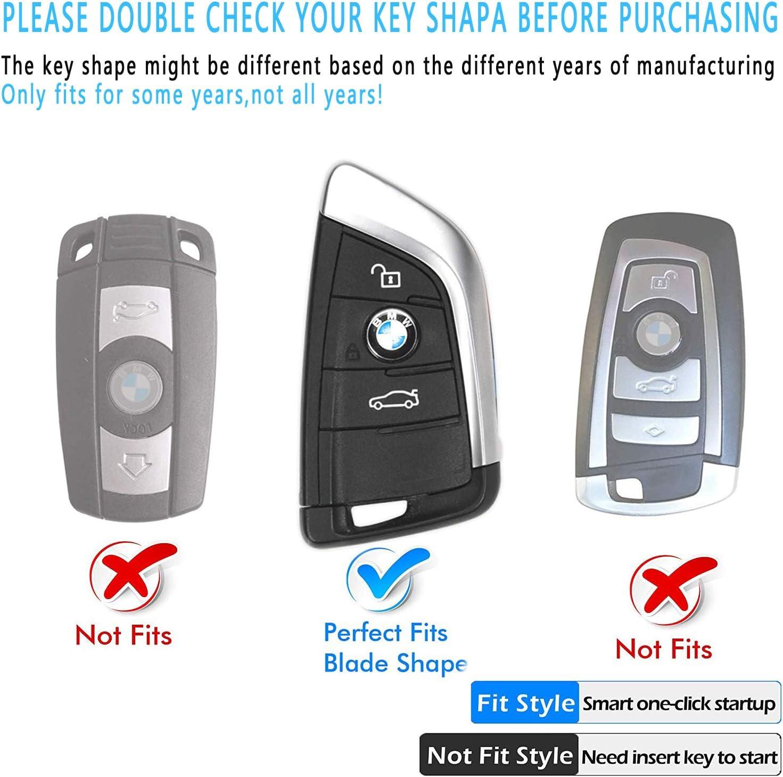 Intermerge for BMW Key Fob Cover,Blade Shape Soft TPU Key Case Shell Pouch for BMW New BMW X1 X3 X5 X6,BMW Series 1 2 5 7 Keyless Entry BMW Key Cover/_Gold