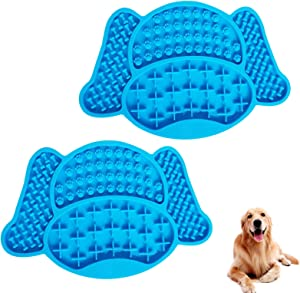 Silicone Pet Feeding Mat 8.6 5.70.32 inch Non Slip Waterproof Washable Dog Food Mat, Place mat Pad for Dogs, Cats, Small & Medium Pets(Two Outfits) (Blue)