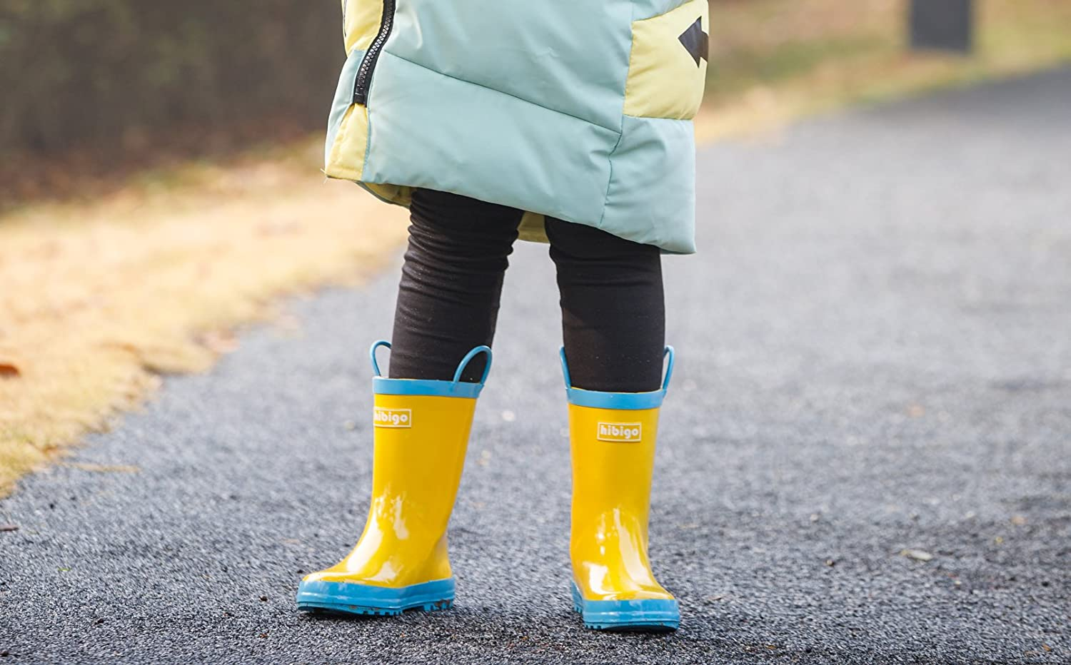 hibigo Childrens Natural Rubber Rain Boots with Handles Easy for Little Kids /& Toddler Girls Pattern and Boys Girls Solid