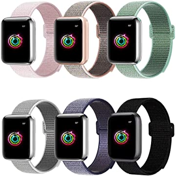 BMBMPT Sport Bands Compatible with Apple Watch 38mm 40mm Soft Breathable Nylon Sport Loop Strap Replacement for iWatch Series 4 Series 3 Series 2 Series 1