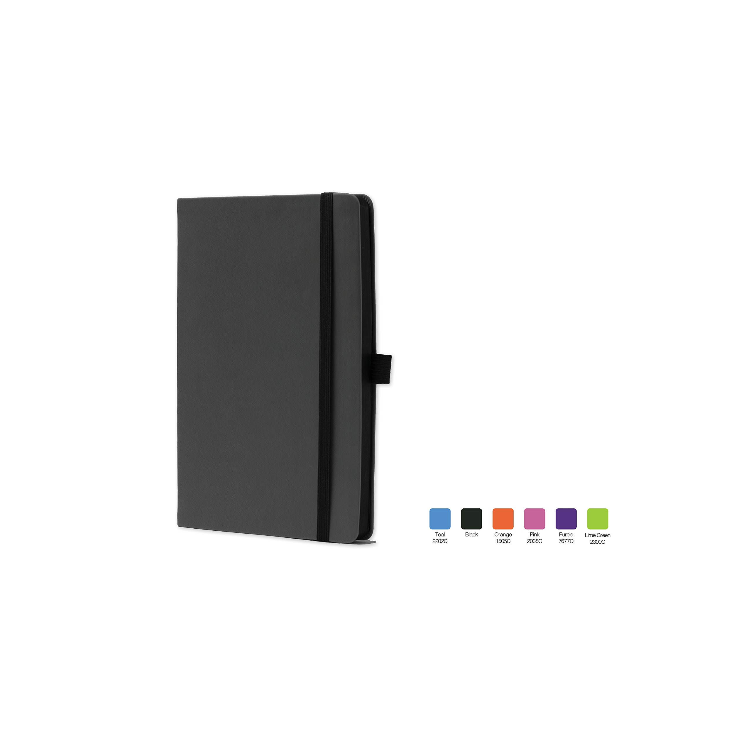 CALYPSO Ruled, Flexicover Notebook Journal with Premium Paper, 192 Lined Pages, Pen loop, Bookmark ribbon, Gusseted back pocket, Black Cover, Size 5.5'' x 8.5''