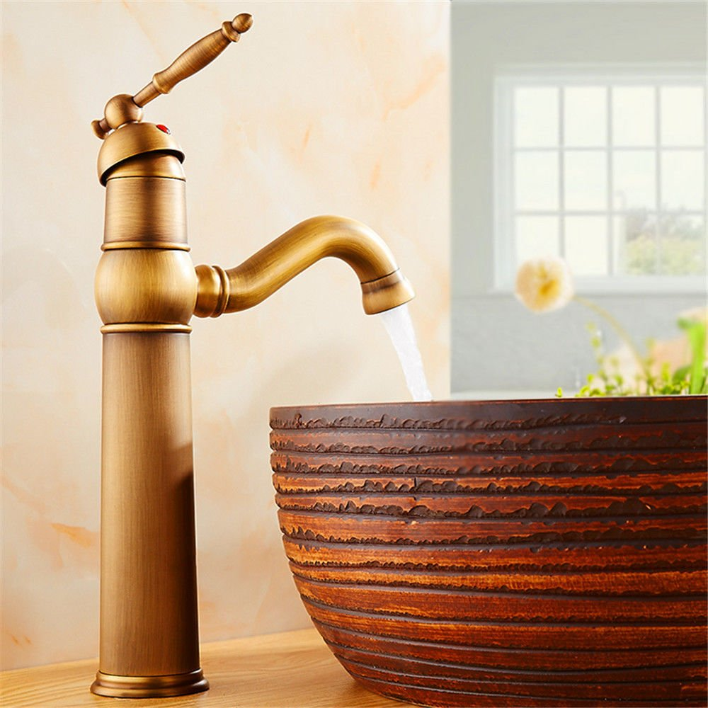 Lalaky Taps Faucet Kitchen Mixer Sink Waterfall Bathroom Mixer Basin Mixer Tap for Kitchen Bathroom and Washroom Copper Antique Retro