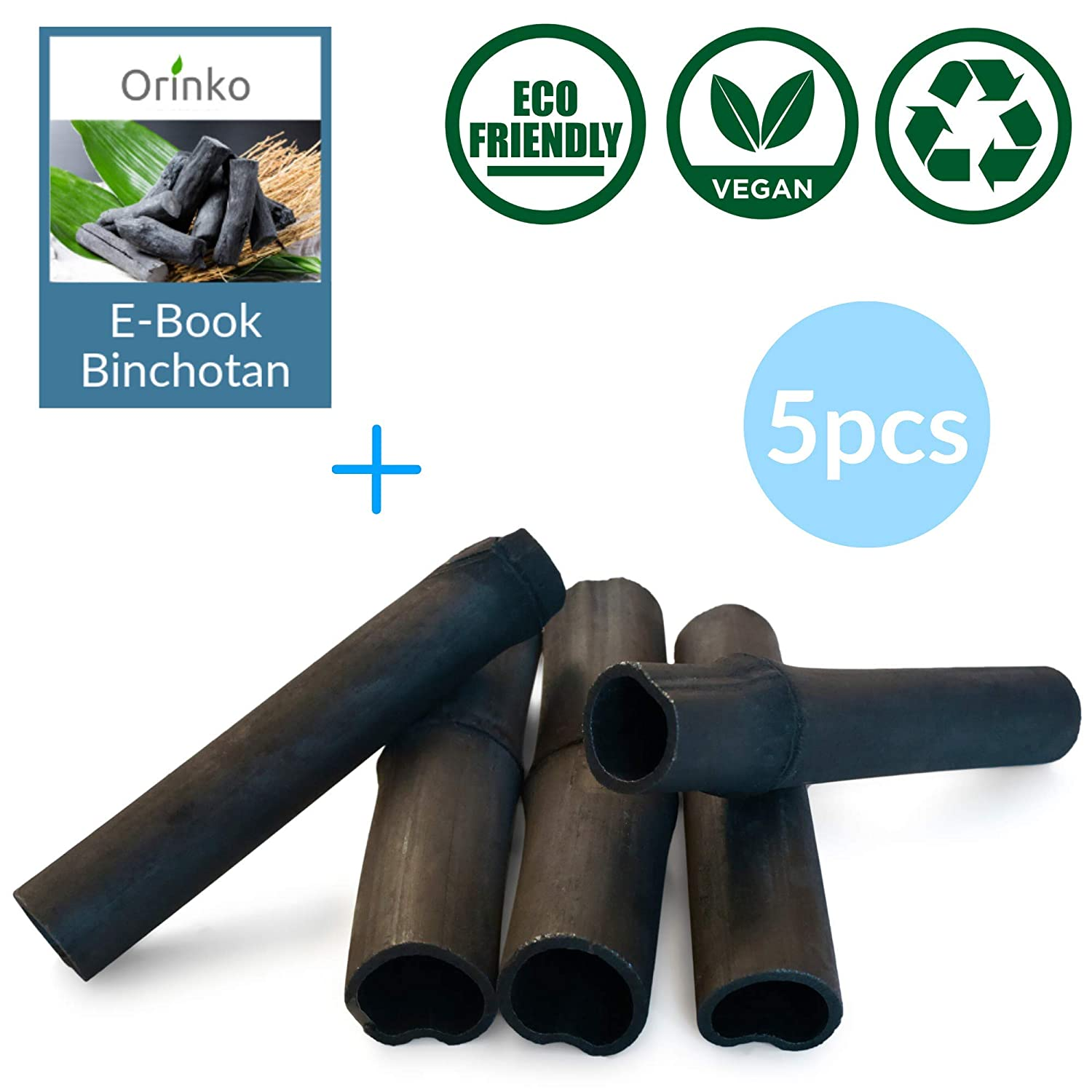 orinko 5 Charcoal Sticks for Water Purification - Bamboo Charcoal Water Filter Sticks Filters up to 2L