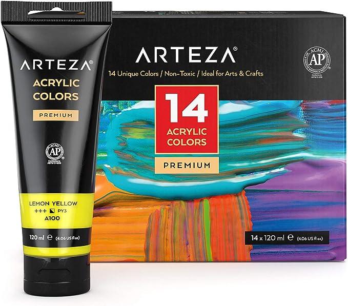 Arteza Bolsas de pinturas acrílicas para el arte, Juego de 14 colores numerados, 14 bolsas de 120 ml, Pintura acrílica para lienzos, para artistas, ...