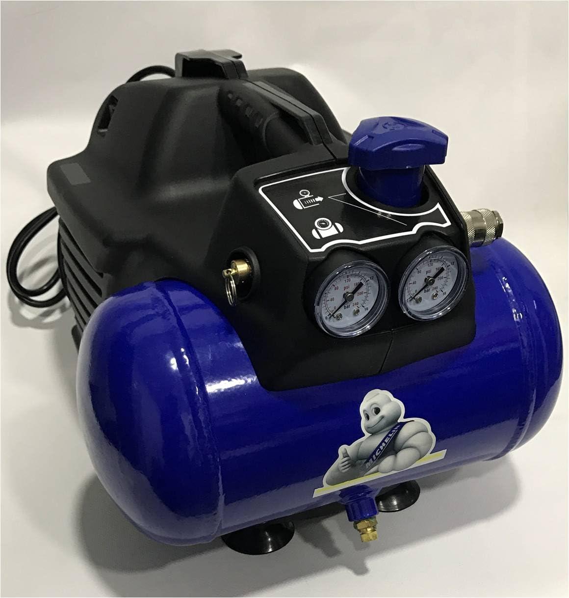Cevik MBL6/1100 Compresor Michelin de 6 litros de caldera, sin aceite, motor de 1.5hp, AZUL Y NEGRO, 1,5 HP