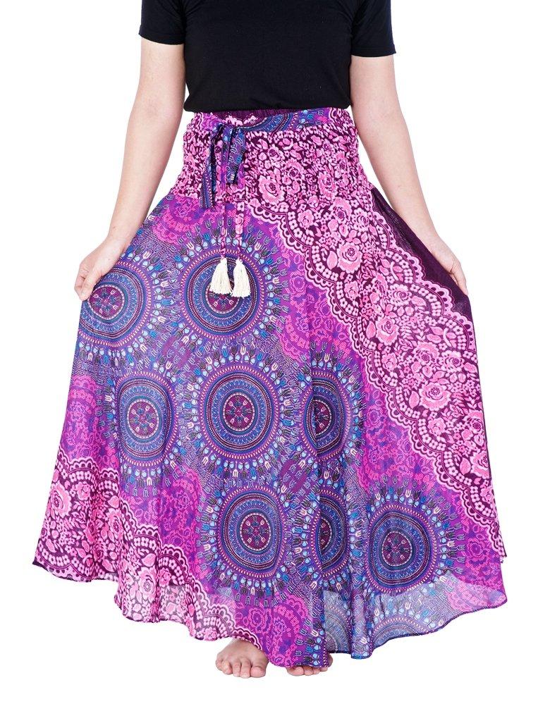 Lannaclothesdesign Women's Long Maxi Ankle Lenght Skirt Boho Skirts One Size Purple