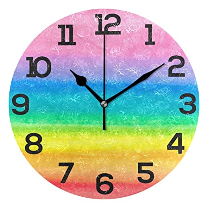 Dozili Colorful Rainbow Painting Round Wall Clock Arabic Numerals Design on painted bathtub, painted patio designs, painted chairs designs, painted floor designs, painted table designs, painted furniture designs, painted photography, painted boat designs, painted closets, painted door designs, painted carpet designs, painted glass designs, painted room designs, painted porch designs, painted christmas designs, painted fireplace designs, painted bedroom, painted window designs, painted cabinet designs, painted car designs,