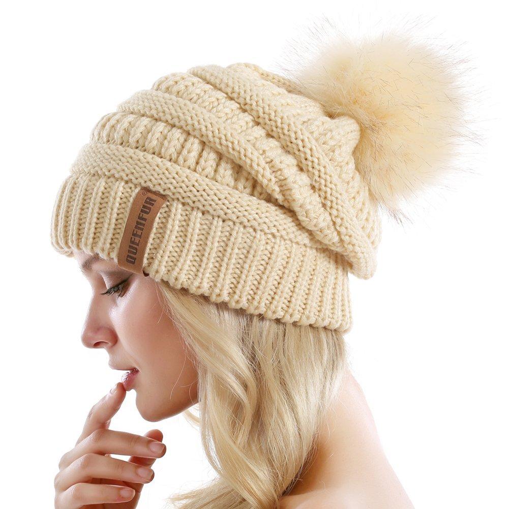 2d8222b15 QUEENFUR Women Knit Slouchy Beanie Chunky Baggy Hat with Faux Fur Pompom  Winter Soft Warm Ski Cap