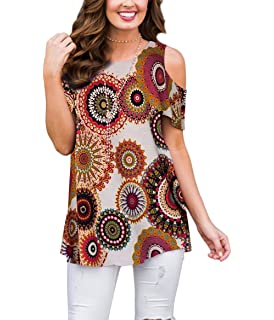 33db7160f85631 XUERRY Women s Swing Floral Print Casual Cold Shoulder Tunic Tops Short  Sleeve Loose Blouse Shirts