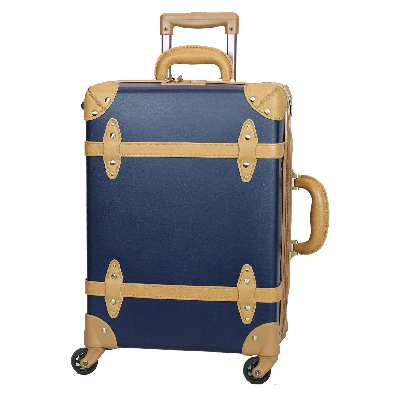 MOIERG(モアエルグ) 軽量 キャリーバッグ 容量UP YKK使用 キャリーケース スーツケース 3年保証 B0799F47YY S|ネイビー/ベージュ ネイビー/ベージュ S