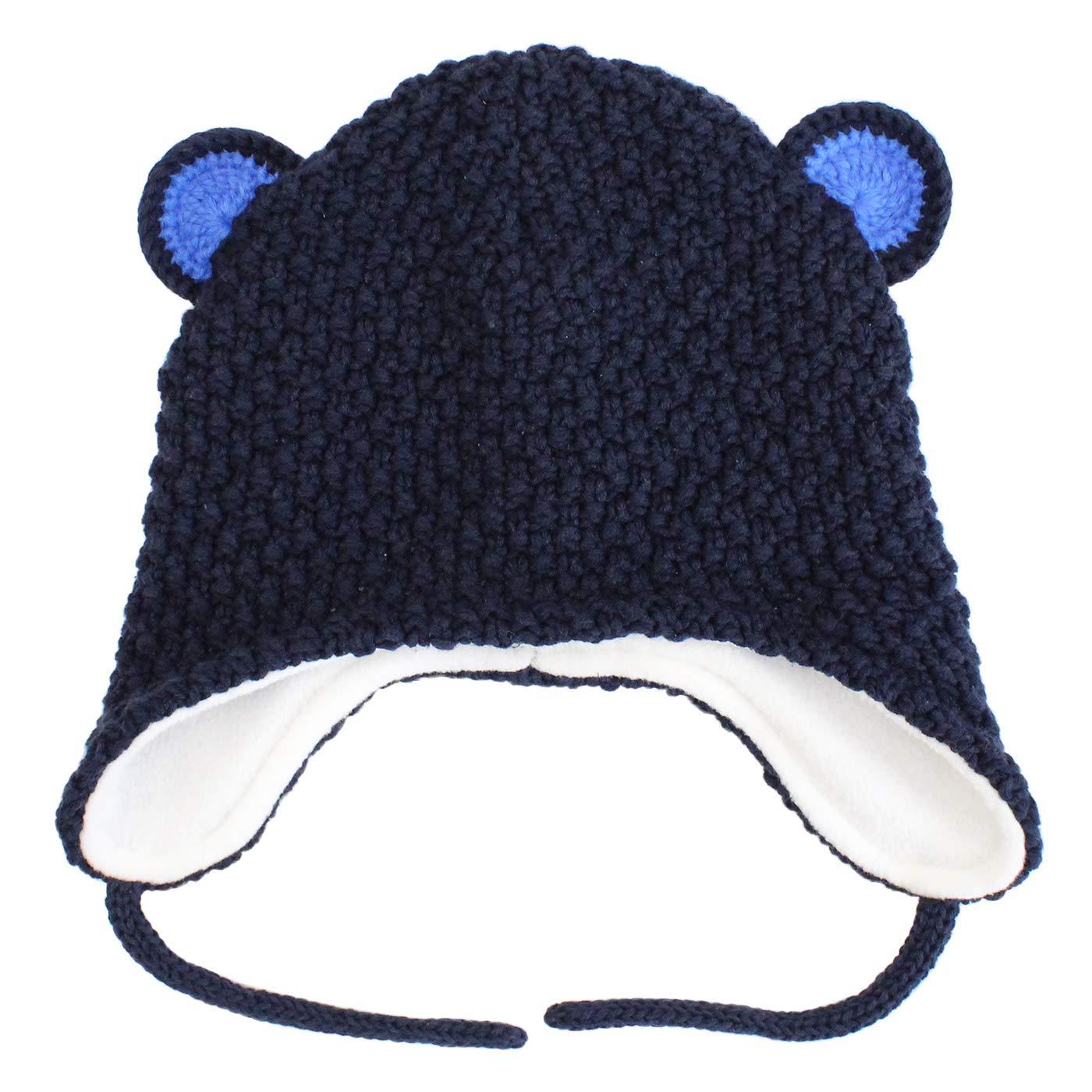 Langzhen Bébé Bonnet Enfants Protection Oreille Chapeau d'hiver Doux Chaud Bonnet Tricoté