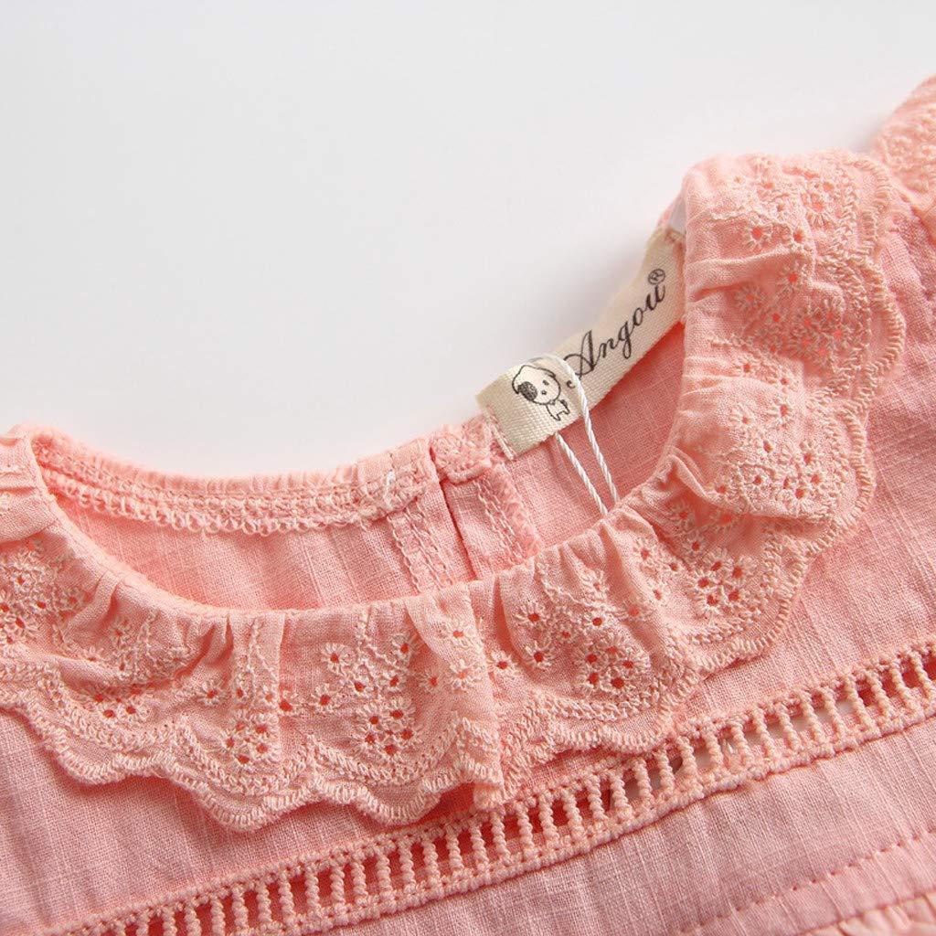 LNGRY Baby Romper,Toddler Newborn Kids Girls Off-Shoulder Ruched Solid Halter Sling Romper Sunsuit Hat Bodysuit