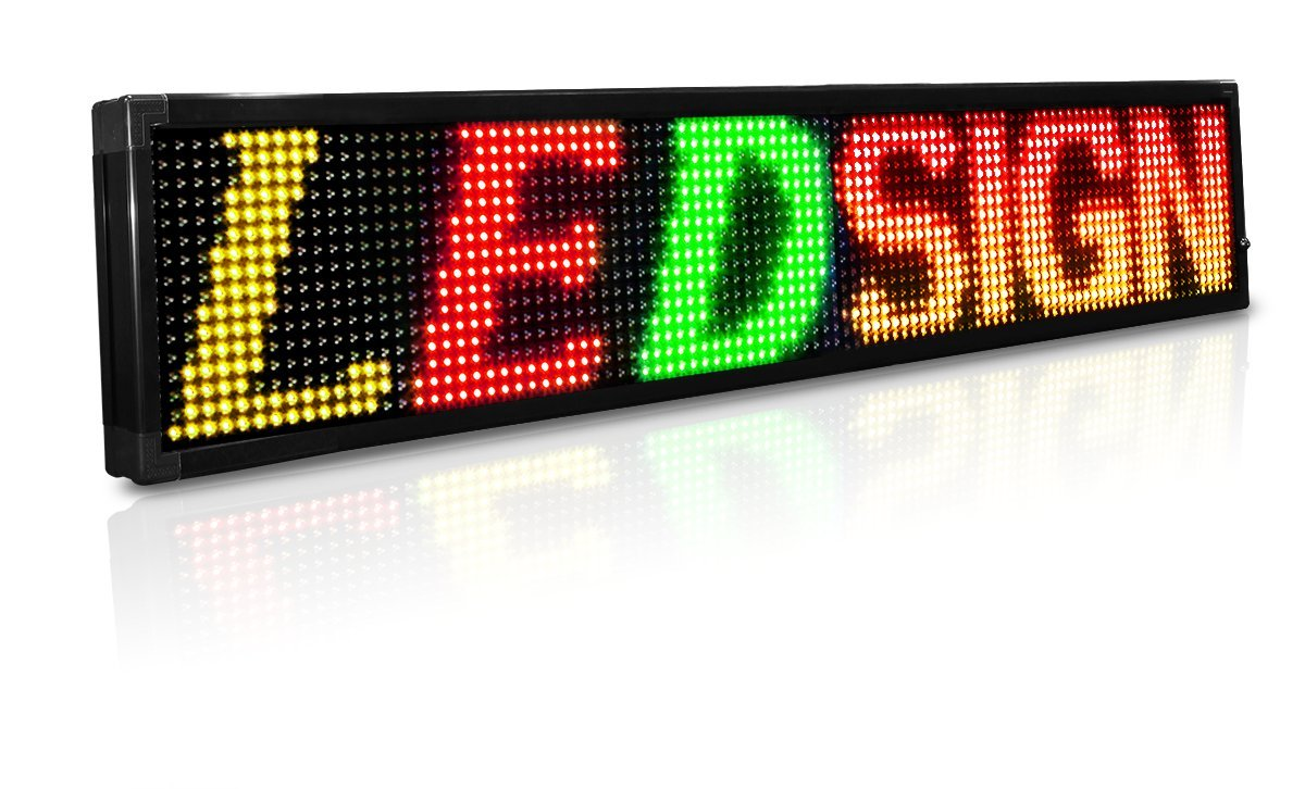 LED Sign 69'' X 19'' Programmable Message Display Tri Color (Red, Green, Yellow)