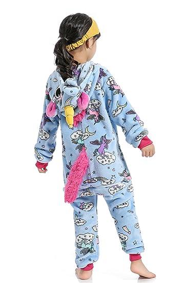 Niños Unicornio Onesie Pijamas Fluffy Franela Ropa de Dormir Animal Novedad Disfraces Cosplay Pijamas para niños y niñas: Amazon.es: Ropa y accesorios