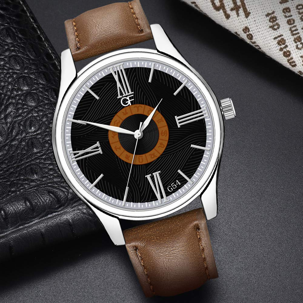 Amazon.com : XBKPLO Quartz Watches Mens Analog Wrist Watch Pointer Light Light Luxury Constellation Dial Leather Band Leisure Strap Watch Jewelry Gift ...
