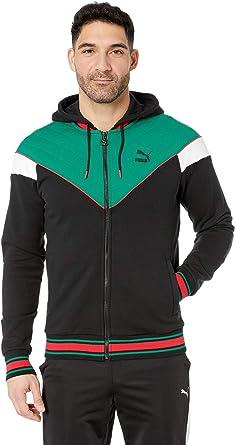 ac5d24cb1827 PUMA Men s Lux MCS Hooded Track Jacket Puma Black Verdant Green Puma White