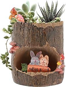 Segreto Creative Plants Pots Brush Pots Planter for Flower Sedum Succulent Plants Desk Garden Room Pot Decor,Mini Sweet Rabbit