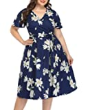 Pinup Fashion Women's Plus Size Wrap Dress V Neck Flutter Sleeve Floral Midi Dress Casual Party Bridesmaid Swing Dress