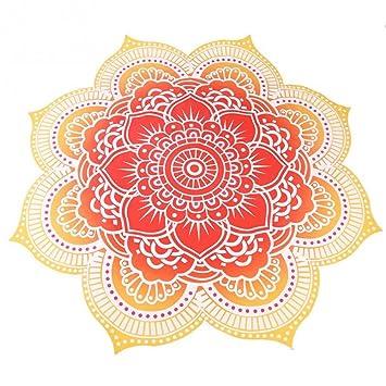 Toalla de playa manta grande rica decoración indio Mandala redonda grande multiusos 145 cm de ancho