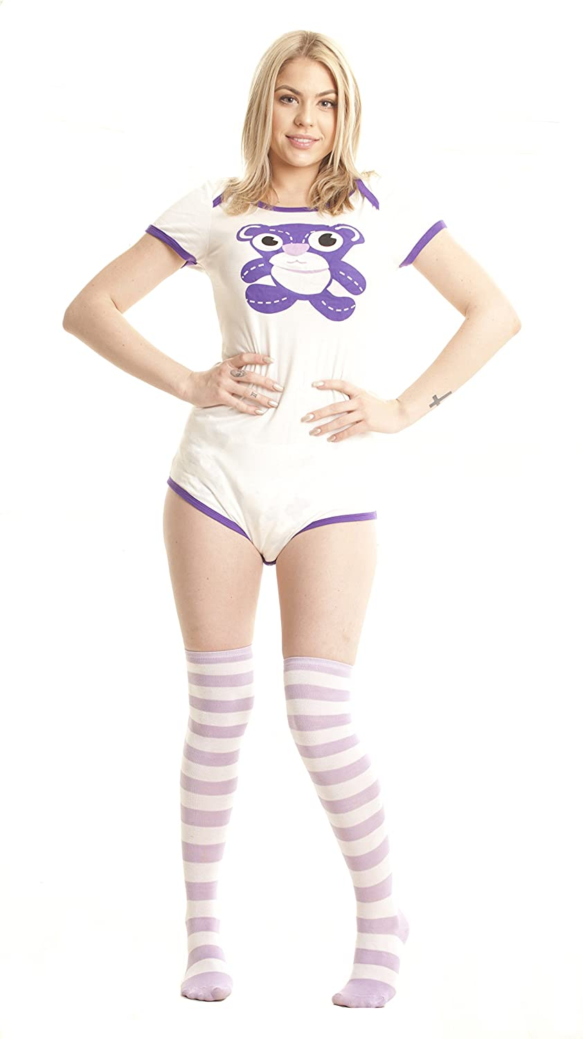 ABDL Supply Adult Baby Diaper Lover Teddy Bear Adult Onesie Baby Romper, Purple
