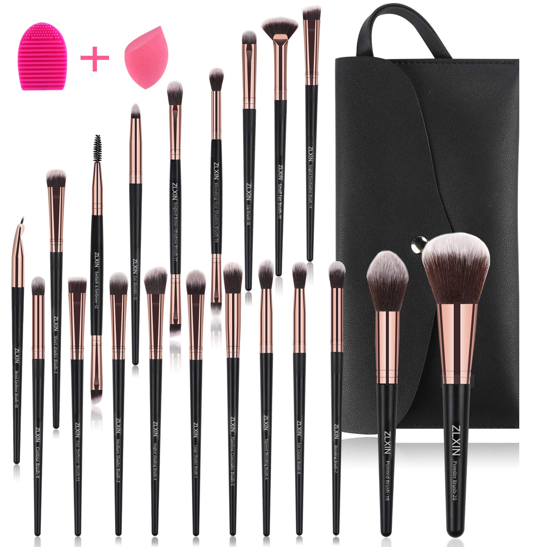 ZLXIN Make up Brushes Set 23 Pcs Premium Synthetic Kabuki Foundation Face Powder Blush Concealers Eye Shadows Make Up Brushes Kit with Storage Bag Blender Sponge and Brush Cleaner (20+3 Pcs/Set)
