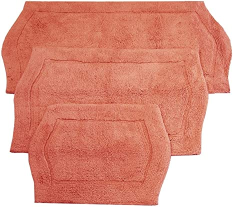 Amazon Com Home Weavers Inc Waterford Collection Genuine Absorbent Cotton 3 Piece Set Bath Rug 17 X24 21 X34 24 X40 Coral N A Home Kitchen