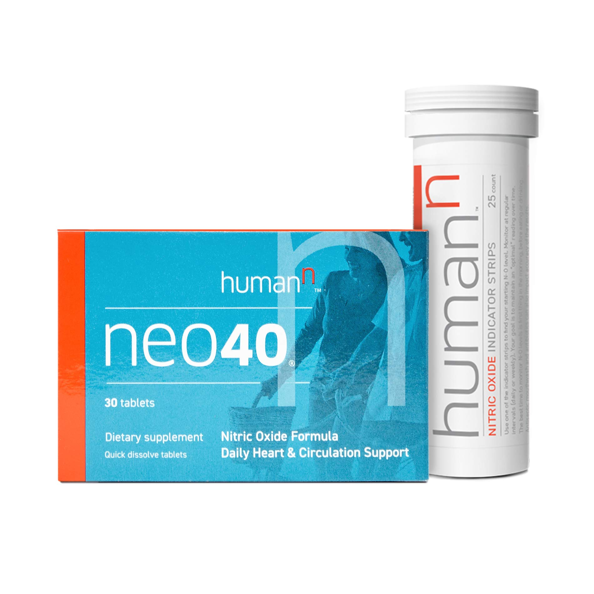 HumanN Neo40 Daily Heart and Circulation Support Nitric Oxide Boosting Supplement with N-O Indicator Test Strips (30 Tablets with 25 Strips) by HumanN