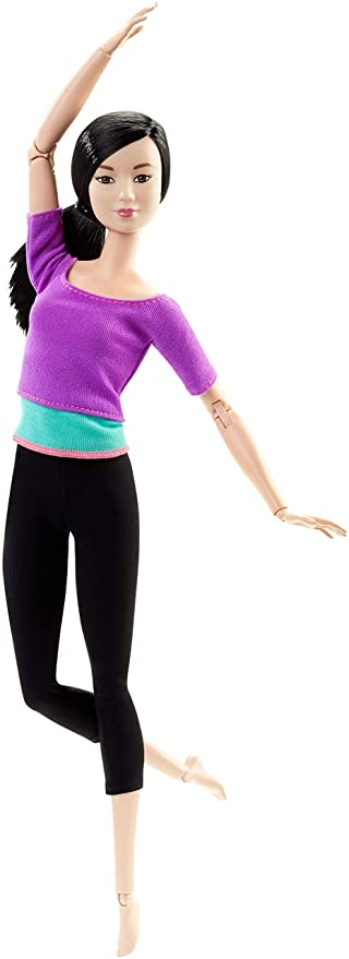 Barbie Fashionista Made to Move, Muñeca articulada top color lila (Mattel DHL84)