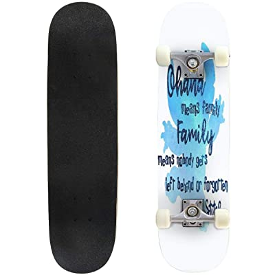 "Cuskip Ohana Means Family Skateboard Complete Longboard 8 Layers Maple Decks Double Kick Concave Skate Board, Standard Tricks Skateboards Outdoors, 31""x8"" : Sports & Outdoors"