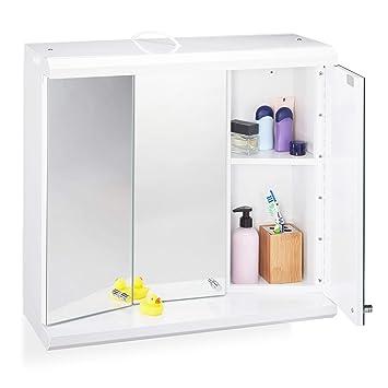Relaxdays LED Spiegelschrank, 3-türig, 6 Fächer, Steckdose, Badezimmer,  Hängeschrank H x B x T: 58 x 60 x 23 cm, weiß