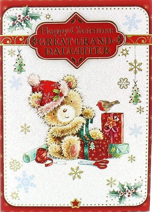 Tarjeta de Navidad tátara tataranieta - oso lindo manida ...
