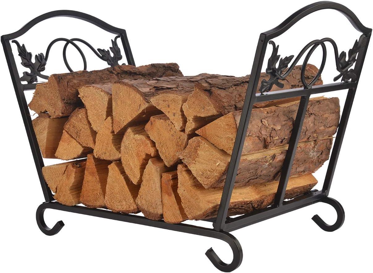 PATIO WATCHER Firewood Rack Folding Log Bin Wood Storage Holder for Indoor Outdoor Backyard Fireplace Heavy Duty Steel Black