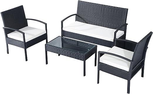 EBS Conjunto de Muebles Poli Ratán para Jardín Terraza Patio - 3 Cojines Blancos 1 Mesa de Café 1 Sofá Biplaza 2 Sillas/Negro: Amazon.es: Jardín